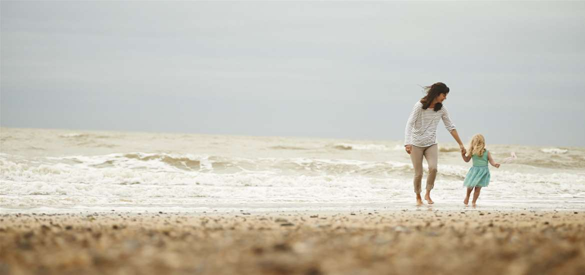 Articles - Plan your  Half Term - Mum and Daughter on Beach