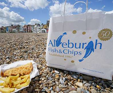 FD - Aldeburgh Fish and Chip Shop - Chips on Beach