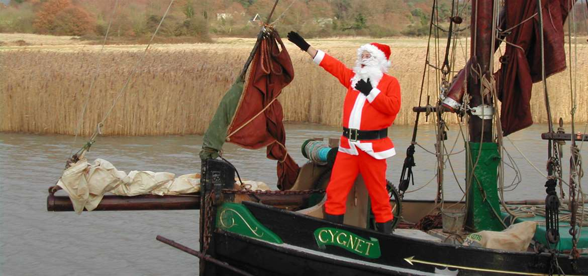 TTDA-Father Christmas arrives at Snape Maltings-Suffolk Coast