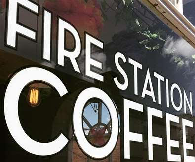 The Fires Station- Front Exterior window Coffee Roasters