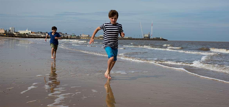 TTD-Family-Boys on Lowestoft Beach-Suffolk