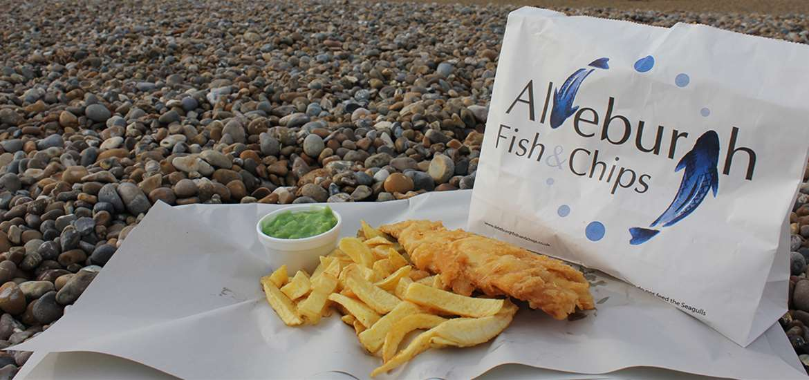 Where to Eat - Eating Out - Aldeburgh Fish and Chip Shop - Fish and Chips on Beach