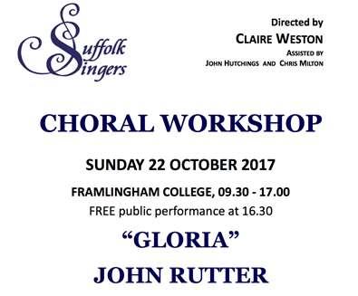 SUFFOLK SINGERS CHORAL WORKSHOP..