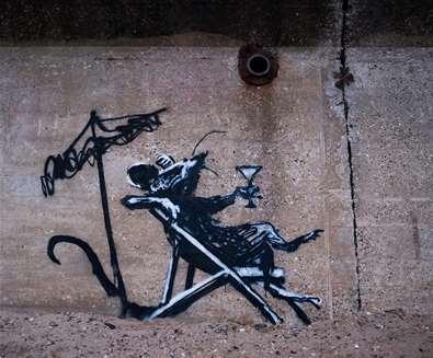 Banksys - Rat with cocktail - (c) Adam Barnes