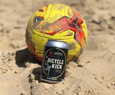 Adnams teams up to brew 'Bicycle Kick'.