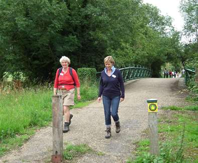 Suffolk Walking Festival - Women walking over bridge