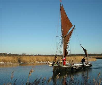 Father Christmas sails into Snape Maltings