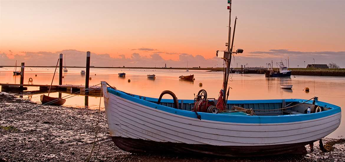 Romantic breaks- sunset on Orford Quay- credit Gill Moon East Coast Creative- Suffolk coast