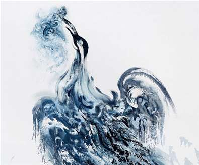 TTDA - Alde Valley Spring Festival - Cormorant with struggling fish, 2020 Maggi Hambling