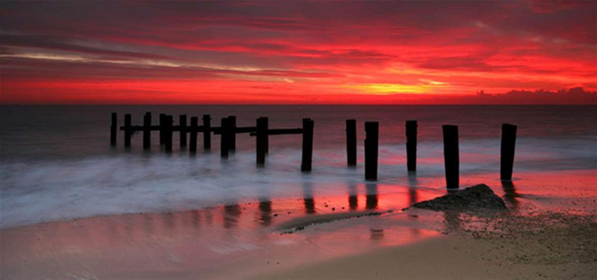 Sunrise over Ness Point in Lowestoft