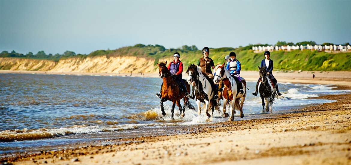 Horse riding on Pakefield Beach
