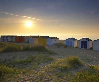 Southwol Beach Huts at Sunrise