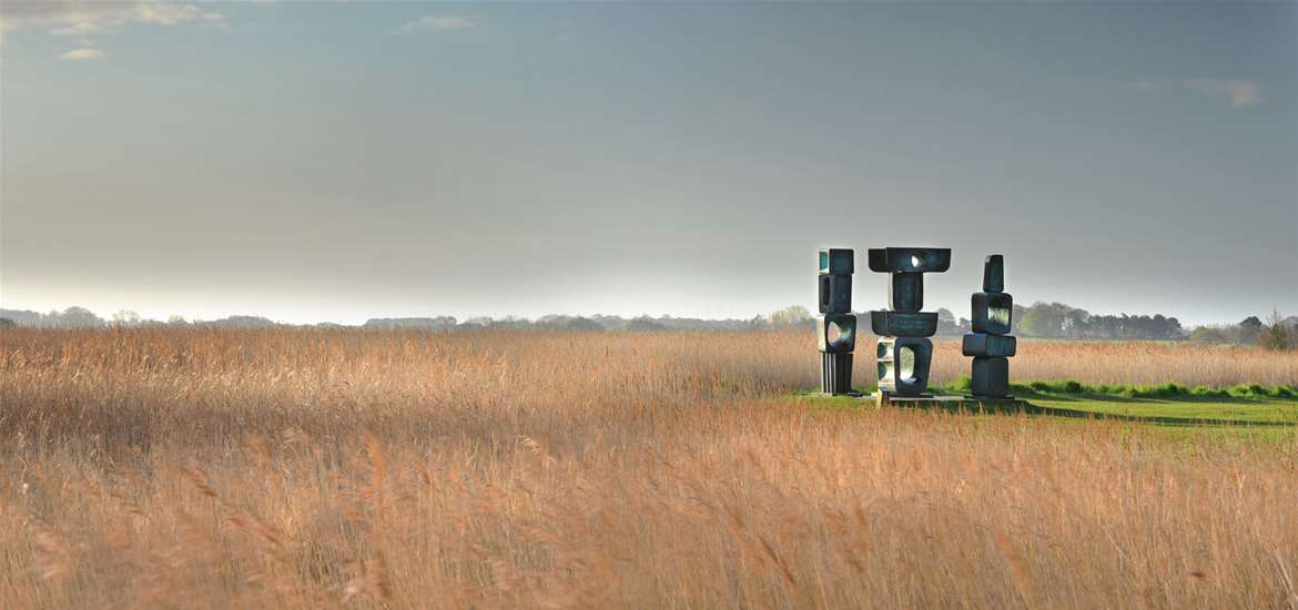 Aldeburgh Music - View over-reed-beds-and-Hepworth's-Family-of-Man-photo-Philip-Vile