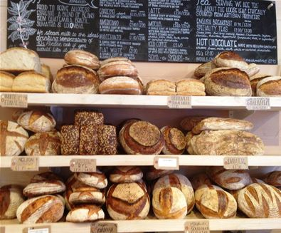 Two Magpies Bakery bread on shelves