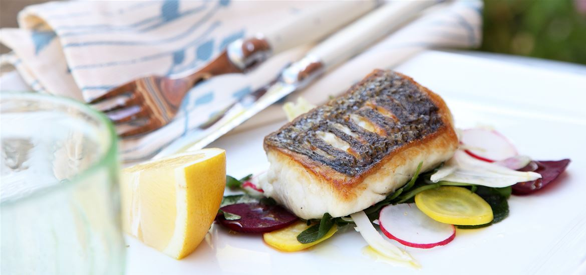 Delicious fish on the menu at Cafe 1885 Snape Maltings